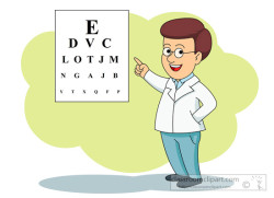eye doctor with eye exam chart
